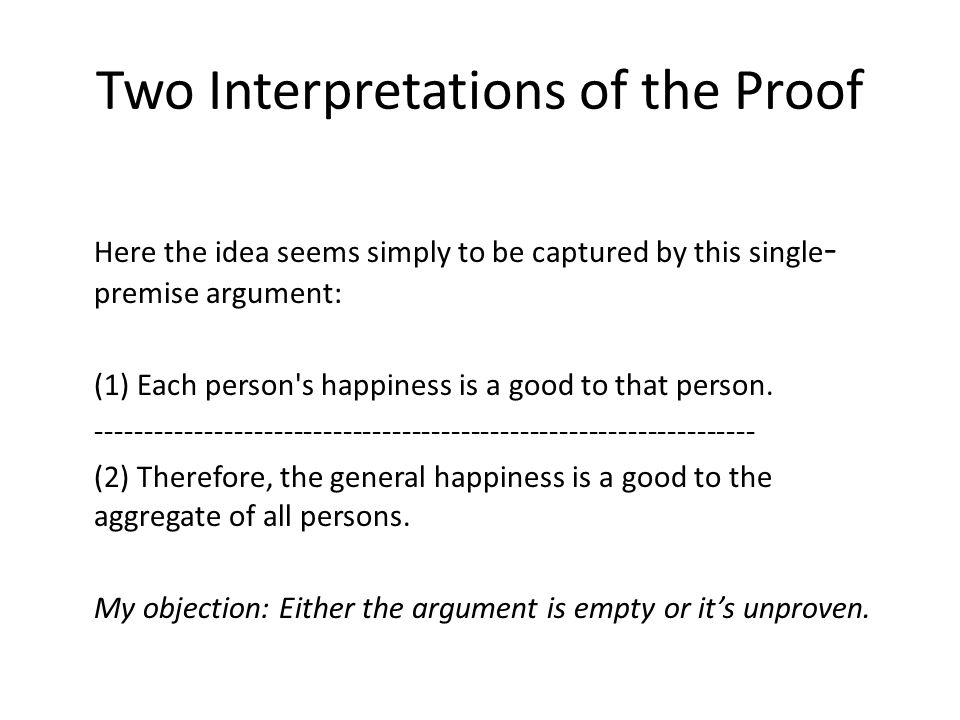 Two Interpretations of the Proof