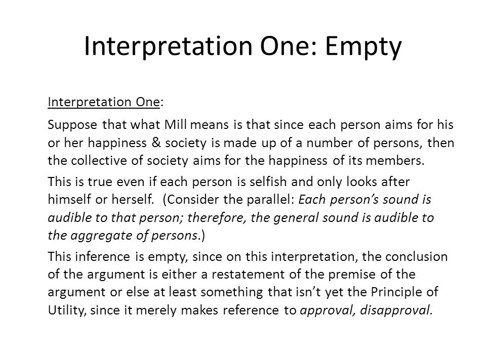 Interpretation One: Empty