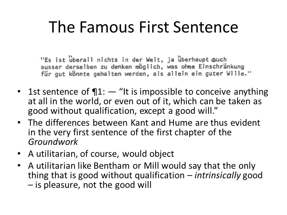 The Famous First Sentence