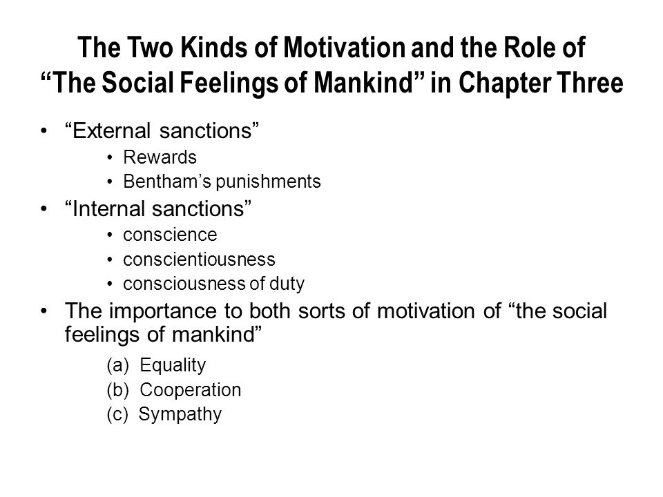 The Two Kinds of Motivation and the Role of The Social Feelings of Mankind in Chapter Three