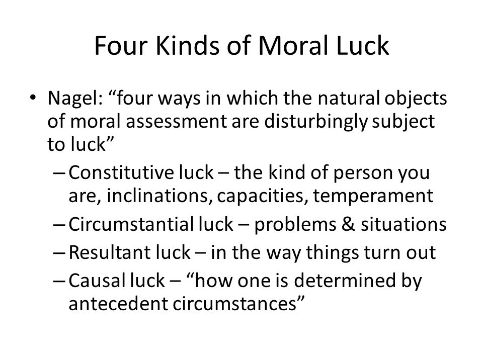 Four Kinds of Moral Luck