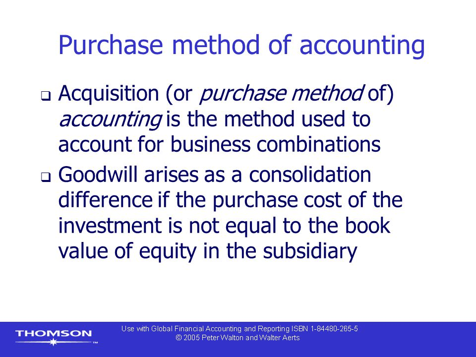 Purchase method of accounting