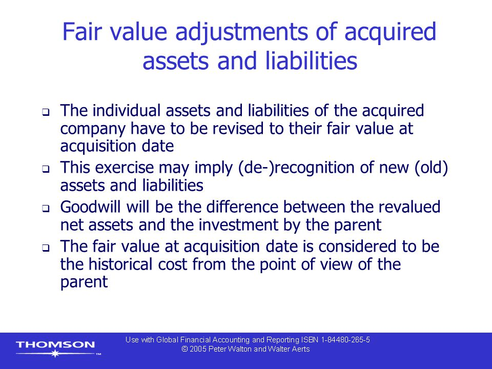 Fair value adjustments of acquired assets and liabilities