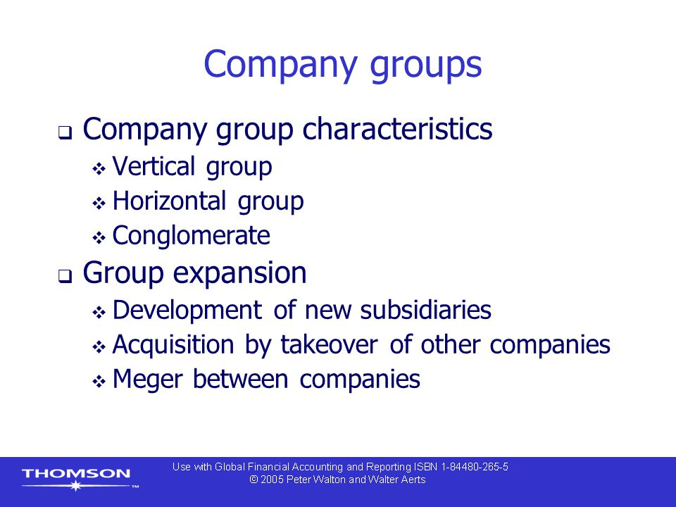 Company groups Company group characteristics Group expansion