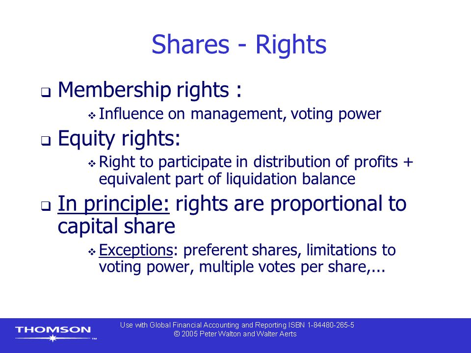 Shares - Rights Membership rights : Equity rights: