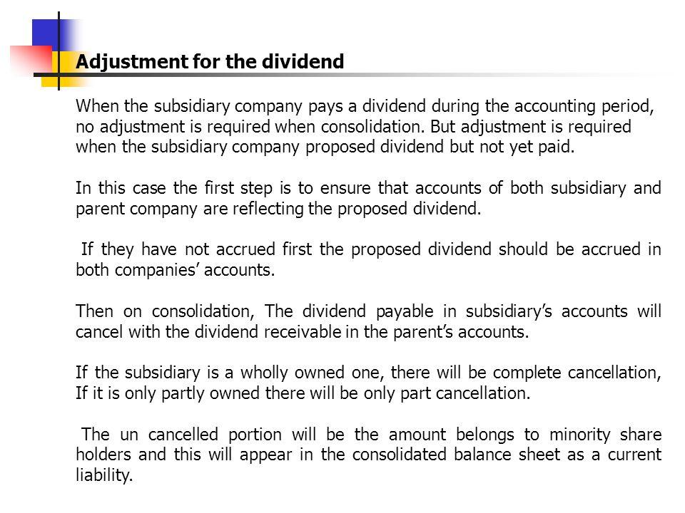 Adjustment for the dividend