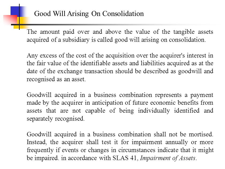 Good Will Arising On Consolidation