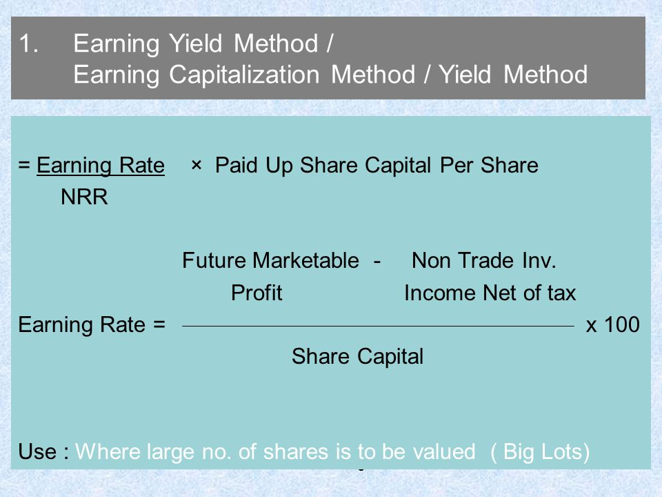 Earning Yield Method / Earning Capitalization Method / Yield Method