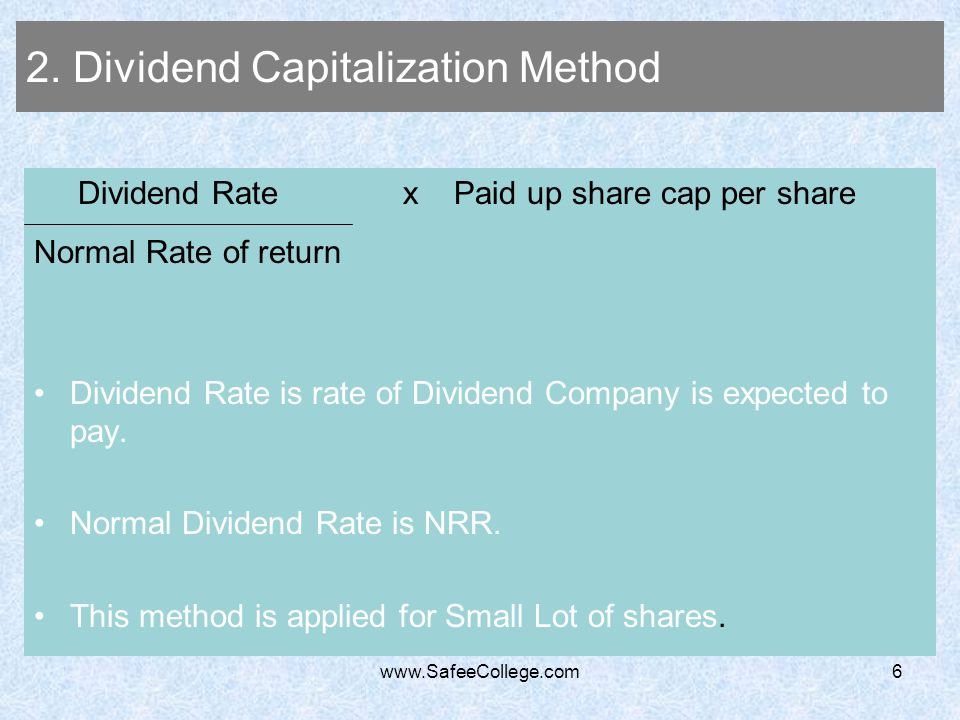 2. Dividend Capitalization Method