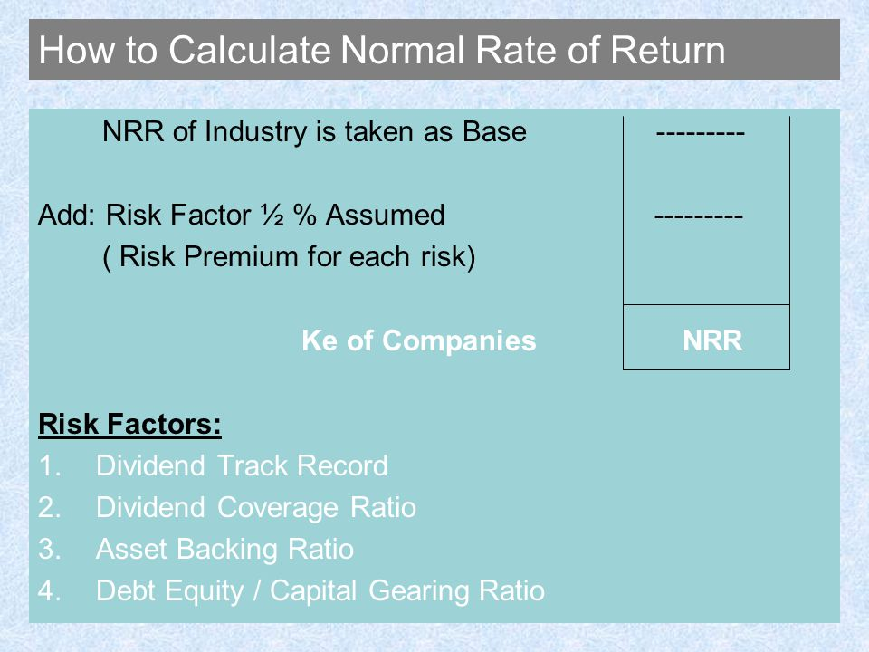 How to Calculate Normal Rate of Return