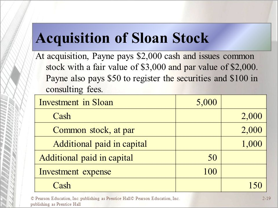 Acquisition of Sloan Stock