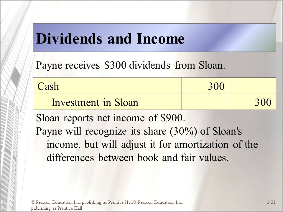 Dividends and Income Payne receives $300 dividends from Sloan.