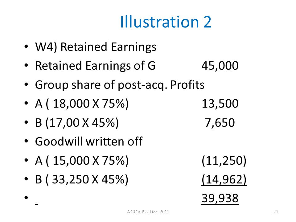 Illustration 2 W4) Retained Earnings Retained Earnings of G 45,000