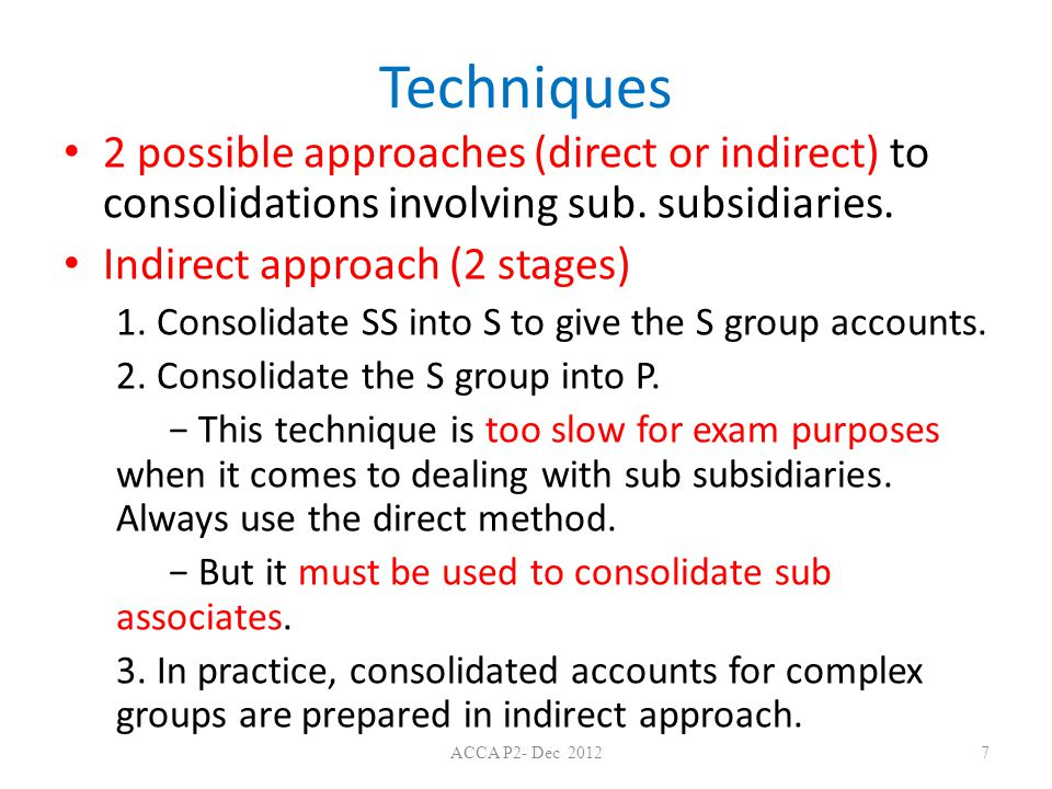 Techniques 2 possible approaches (direct or indirect) to consolidations involving sub. subsidiaries.