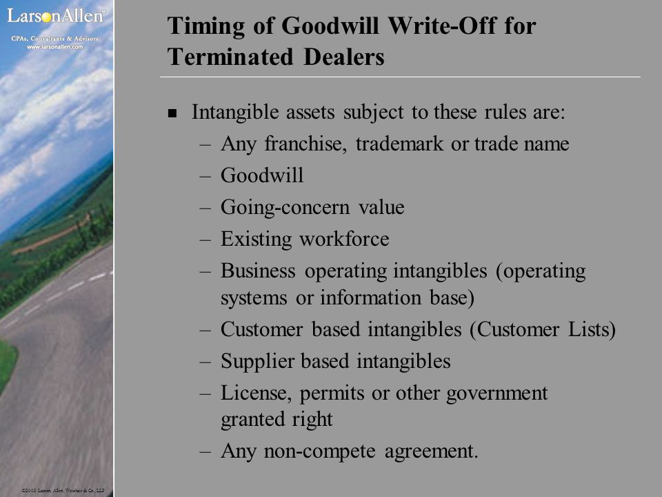Timing of Goodwill Write-Off for Terminated Dealers