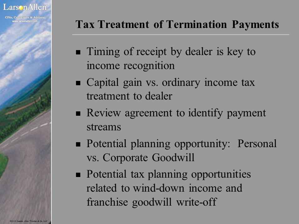 Tax Treatment of Termination Payments