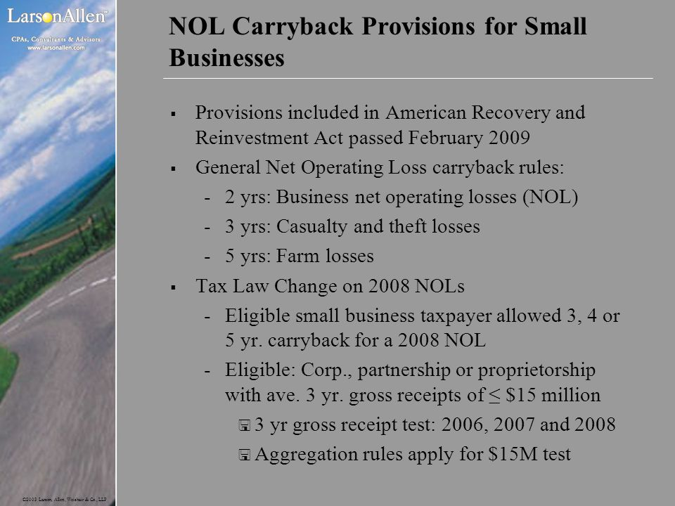 NOL Carryback Provisions for Small Businesses