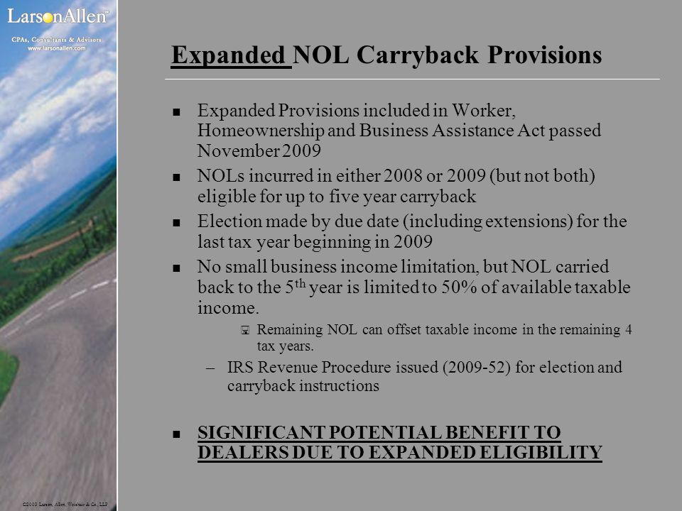 Expanded NOL Carryback Provisions