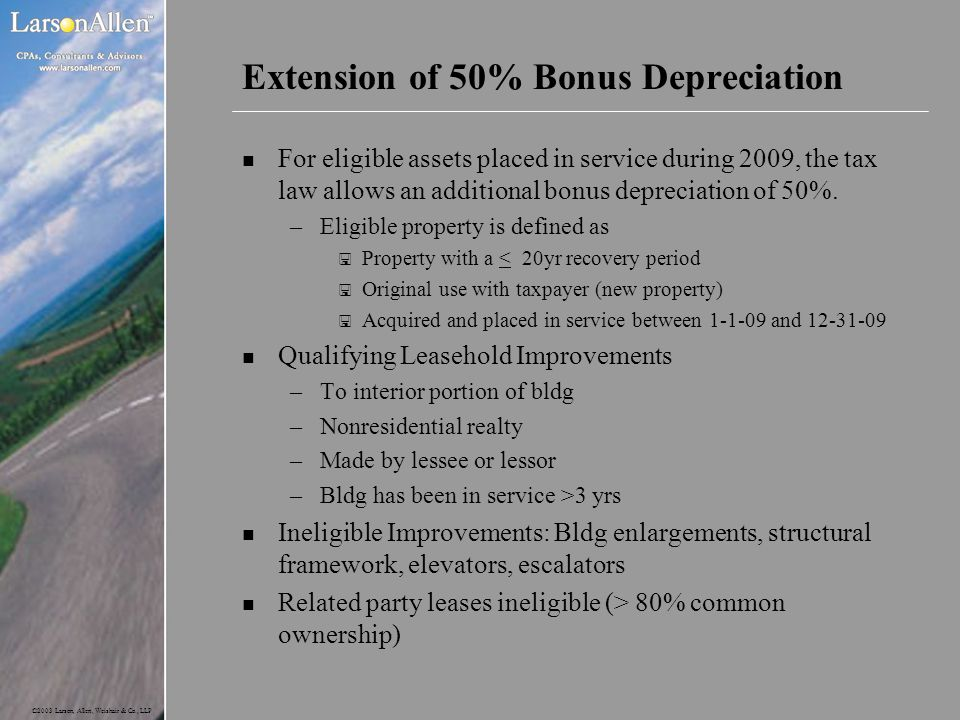 Extension of 50% Bonus Depreciation