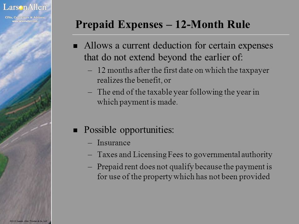 Prepaid Expenses – 12-Month Rule