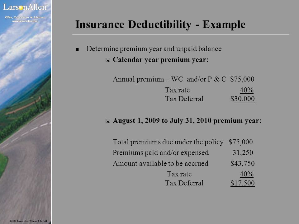 Insurance Deductibility - Example