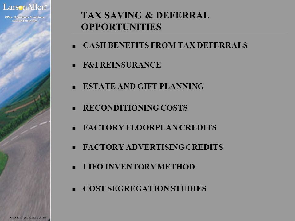 TAX SAVING & DEFERRAL OPPORTUNITIES