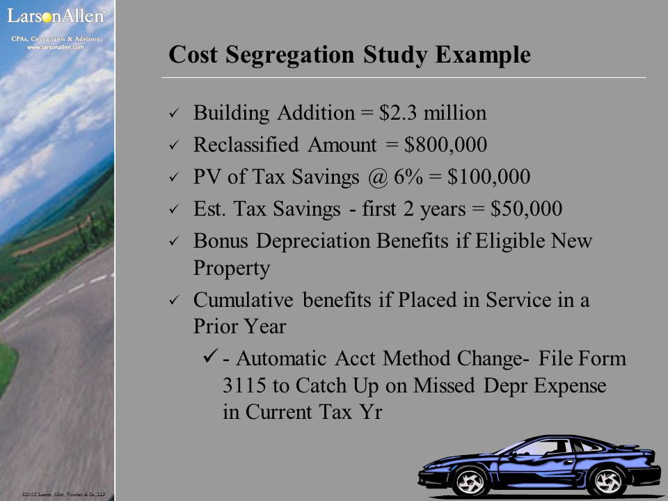 Cost Segregation Study Example