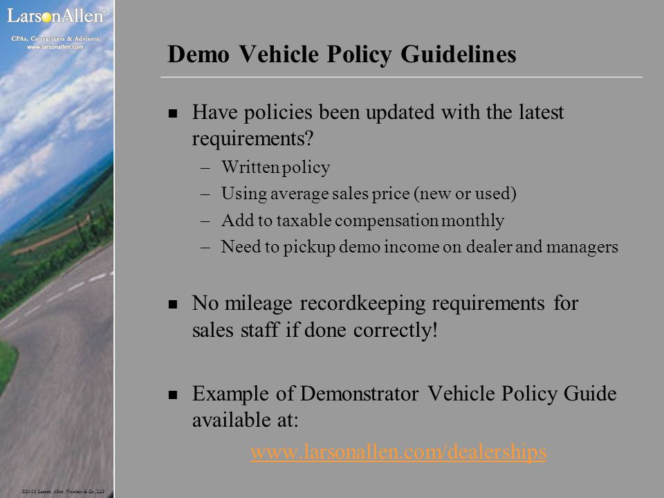 Demo Vehicle Policy Guidelines
