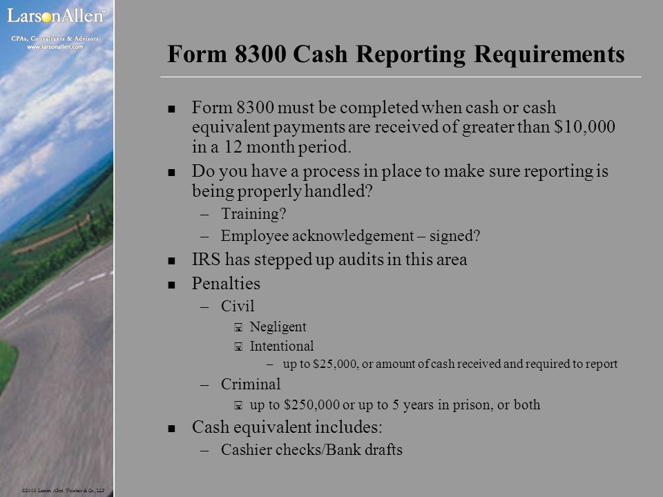 Form 8300 Cash Reporting Requirements