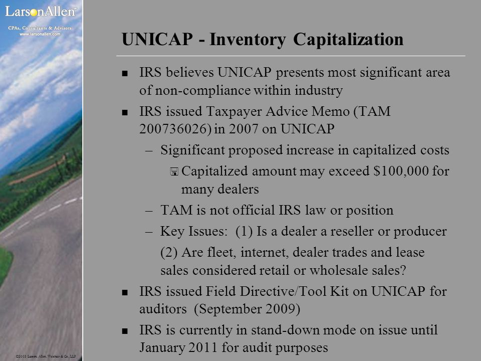 UNICAP - Inventory Capitalization