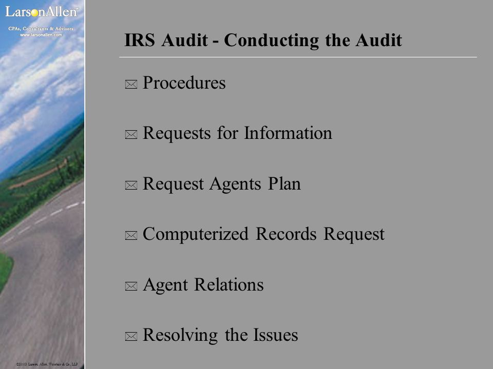 IRS Audit - Conducting the Audit