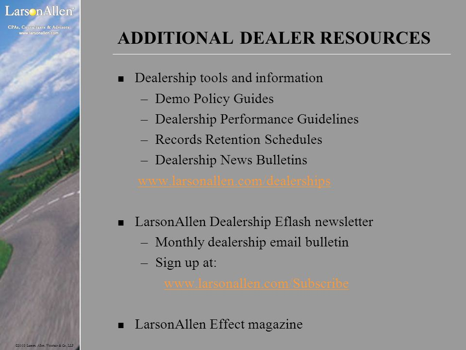 ADDITIONAL DEALER RESOURCES