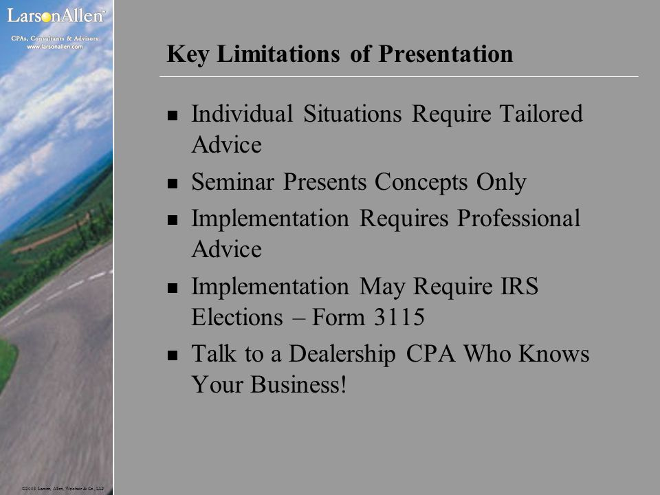 Key Limitations of Presentation