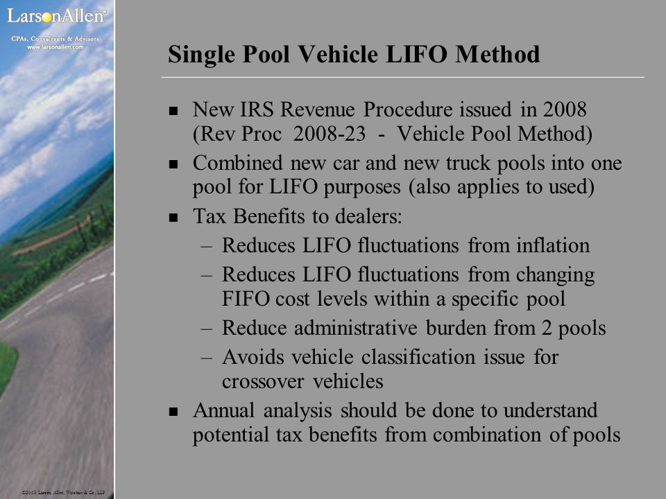 Single Pool Vehicle LIFO Method