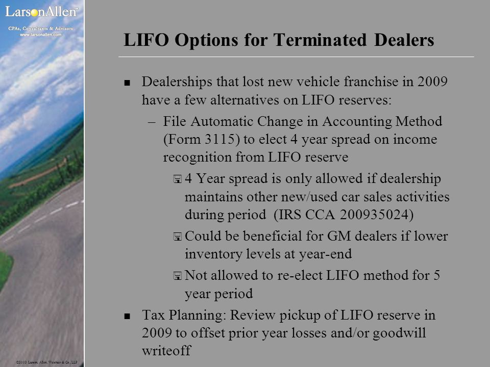 LIFO Options for Terminated Dealers