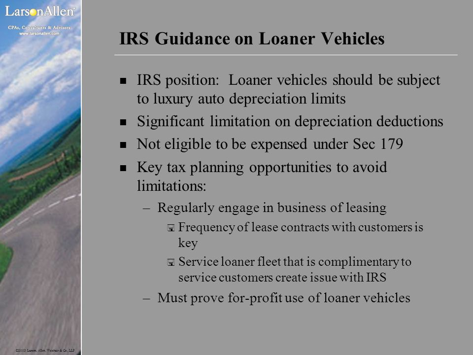 IRS Guidance on Loaner Vehicles