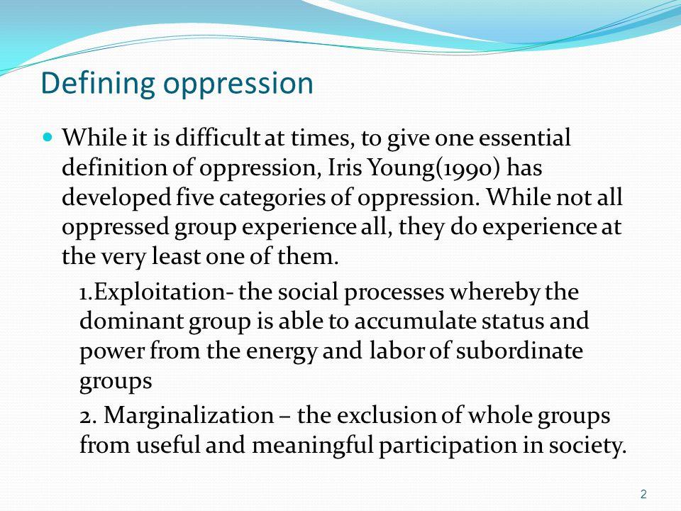 Defining oppression