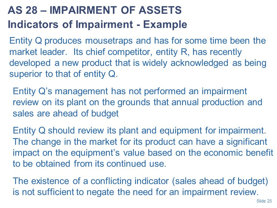 AS 28 – IMPAIRMENT OF ASSETS Indicators of Impairment - Example