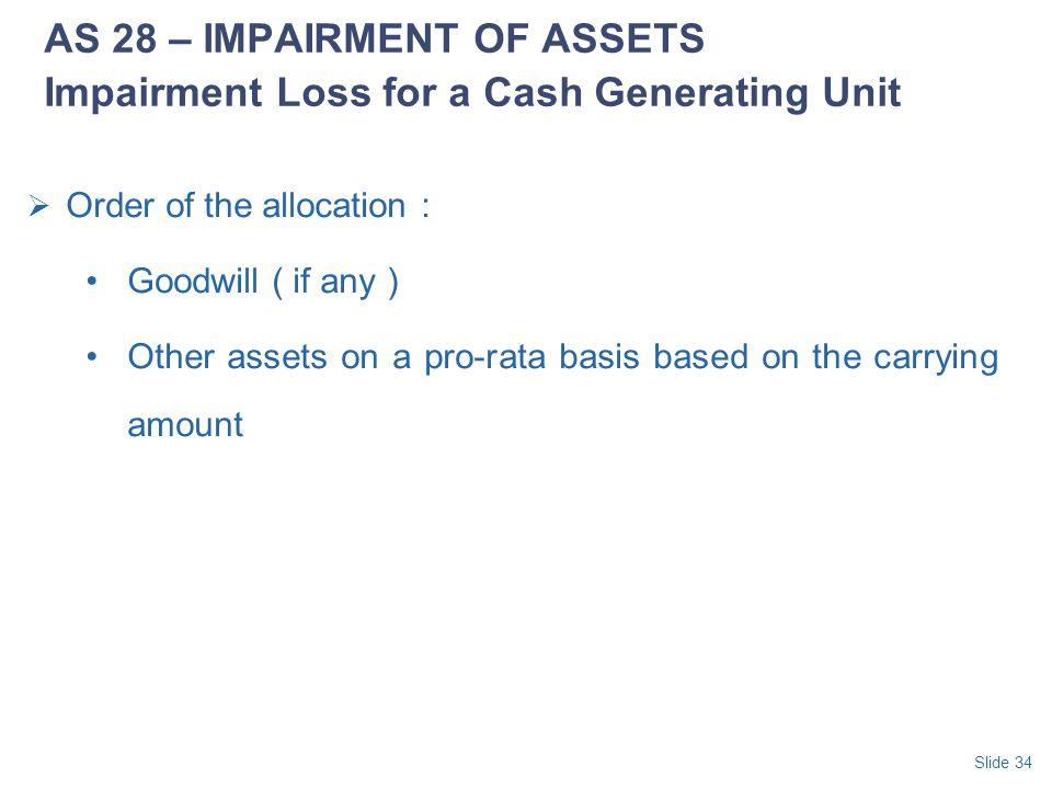 AS 28 – IMPAIRMENT OF ASSETS Impairment Loss for a Cash Generating Unit