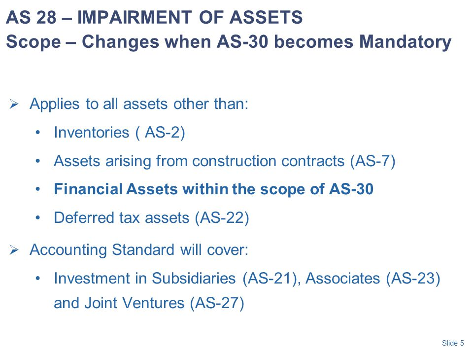 AS 28 – IMPAIRMENT OF ASSETS Scope – Changes when AS-30 becomes Mandatory