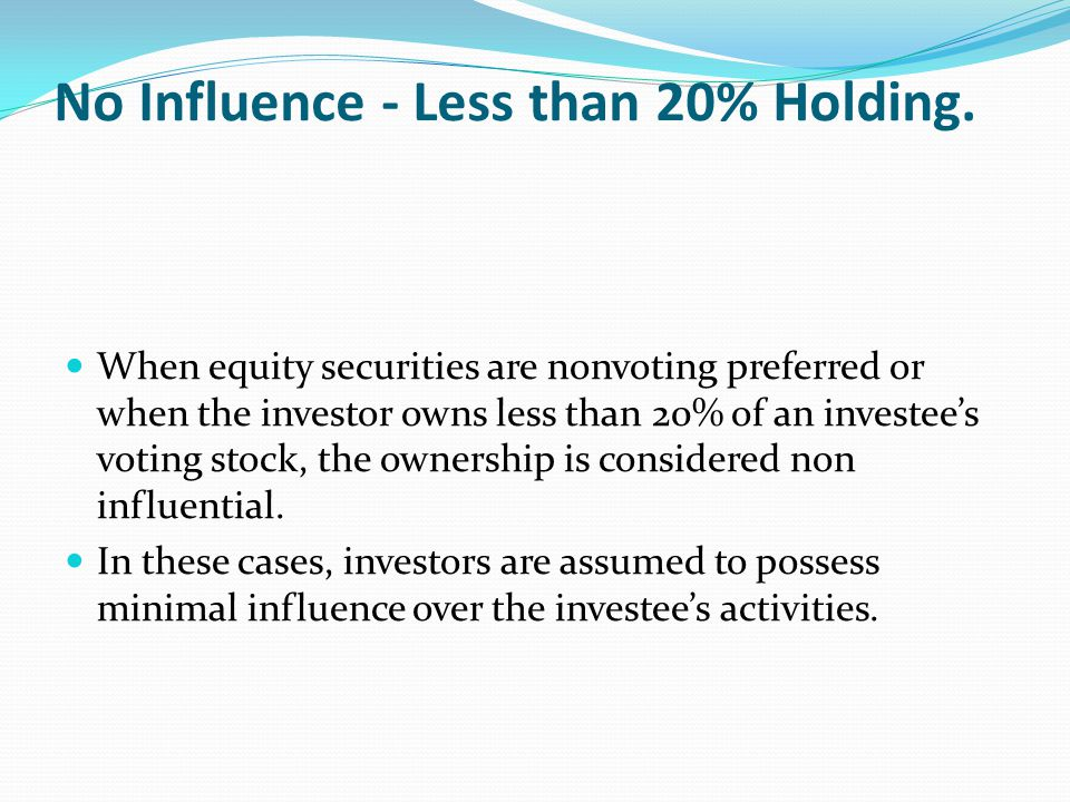 No Influence - Less than 20% Holding.