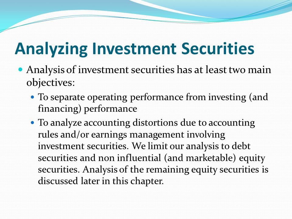 Analyzing Investment Securities