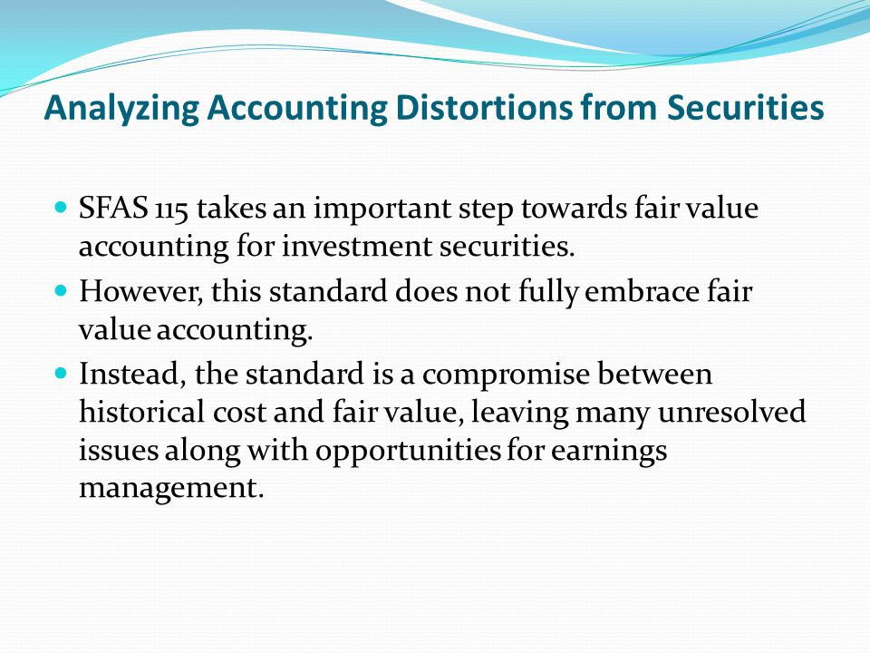 Analyzing Accounting Distortions from Securities