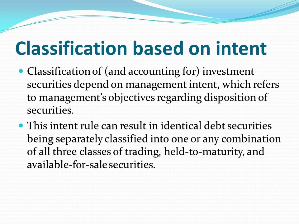 Classification based on intent