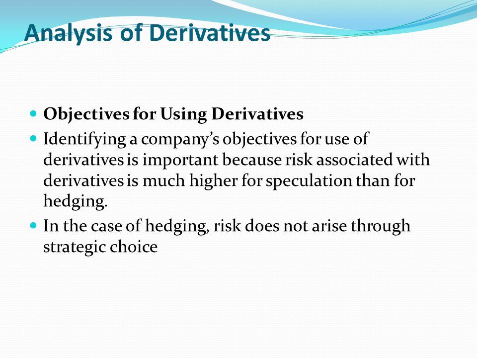 Analysis of Derivatives