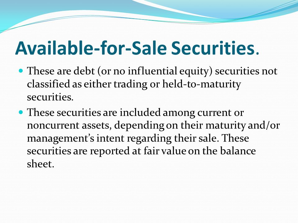 Available-for-Sale Securities.