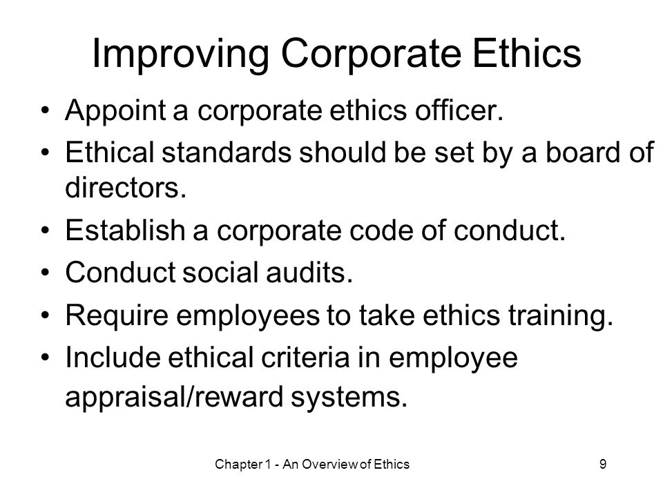 Improving Corporate Ethics