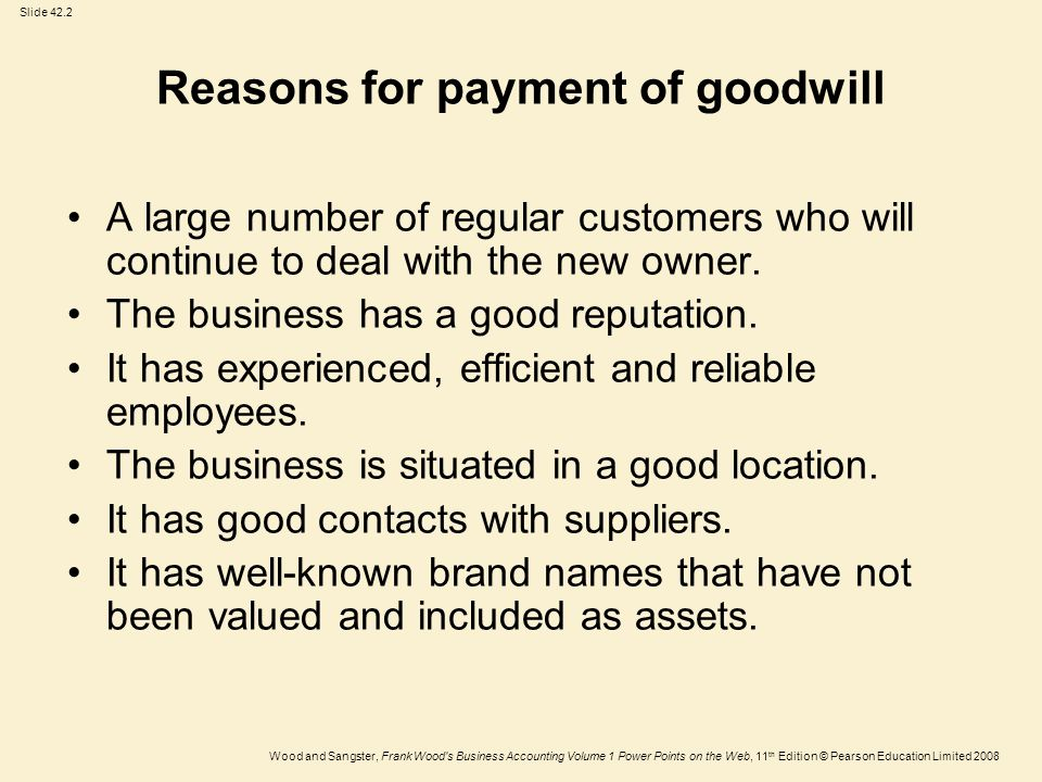 Reasons for payment of goodwill