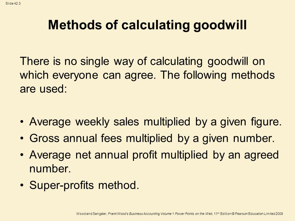 Methods of calculating goodwill