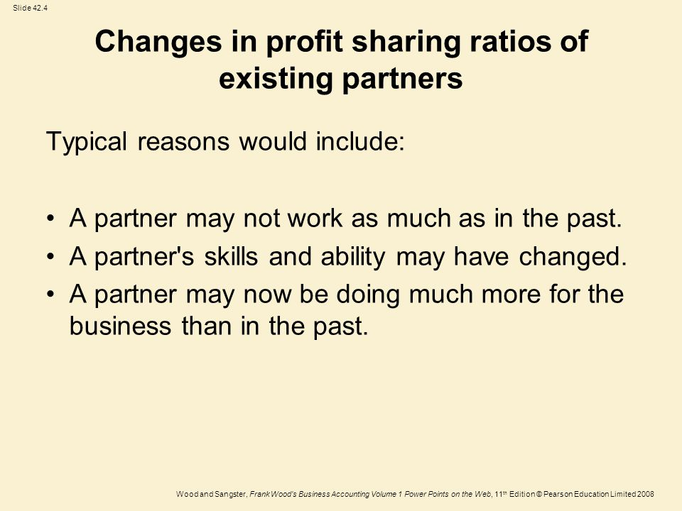 Changes in profit sharing ratios of existing partners